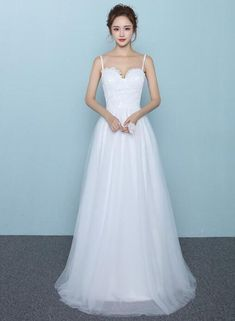 Simple White Tulle and Lace Straps Long Bridal Gown, Simple Wedding Dr – BeMyBridesmaid