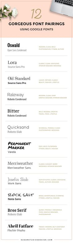 12 Gorgeous Font Pairings using Google Fonts |   Picking fonts for your biz is so important. I put together a free guide to the best font pairings using Google Fonts. Bonus! Find out which fonts are the best choices for your type of business. Repin this to save it for later! | sugarstudiosdesign.com