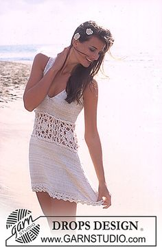 Dress with crochet waistband - Free knitting pattern