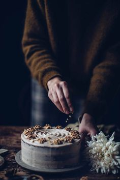 Gluten-free Walnut Cake with Cinnamon - the perfect autumn recipe - Our Food Stories Gluten Free Baking, Gluten Free Desserts, Dessert Recipes, Dark Food Photography, Cake Photography, Walnut Cake, Fall Cakes, Let Them Eat Cake, Food Pictures