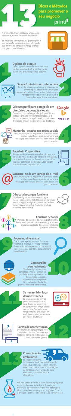 9e1a185f9 Infográfico - 13 Dicas e Métodos para promover o seu negócio Atendimento Ao  Cliente