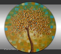 Texture Gold Tree Painting  Abstract Landscape 20 by ZarasShop