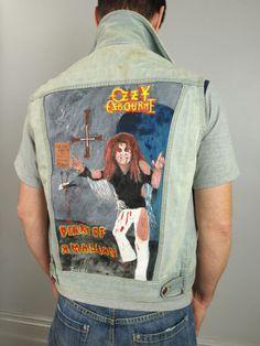 Image result for ozzy osbourne vintage clothing Vintage Denim, Vintage Clothing, Vintage Outfits, Ozzy Osbourne, Heavy Metal, Online Price, Vest, Hand Painted, Concert