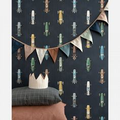 Classic race cars drive at breakneck speed on this Studio Ditte wallpaper. On a dark weathered background vintage Formula 1 racing cars show off. Boys Room Wallpaper, Dark Wallpaper, Race Car Bedroom, Kids Bedroom, Boy Car Room, Car Nursery, Cool Kids Rooms, Kid Spaces, Kidsroom