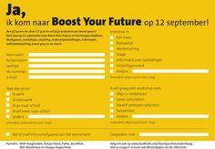 Flyer 1 Boost Your Future (achterkant) - Onderwijs, werk en carrière evenement voor Haagse jongeren * by Alan Bredenhorst  125Procent