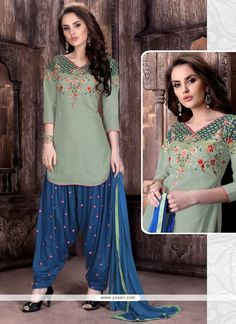 Stupendous Cotton   Embroidered Work Patiala Suit Model: YOS9092