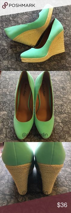 Michael Antonio mint colored espadrille wedges Michael Antonio mint platform espadrille wedges. A great condition, but there are a few scuffs which can been seen in the photos if you zoom in. Heel measurement shown. Size 8.5. Reasonable offers are always welcome. Feel free to ask any questions or request more photos. Michael Antonio Shoes Wedges