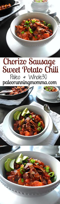 Chorizo Sausage Sweet Potato Chili with bacon - Paleo, Whole30 friendly hearty, chunky chili with tons of flavor, ready in 30 minutes!
