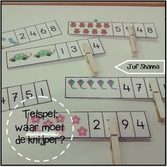Juf Shanna: Telspel: waar moet de knijper? Preschool Learning, Craft Activities For Kids, Activity Games, Teaching Math, Math Activities, Games For Kids, Maths, Diy For Kids, Crafts For Kids