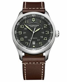 Victorinox Swiss Army Watch, Men's Automatic Airboss Brown Leather Strap 241507 - Men's Watches - Jewelry & Watches - Macy's