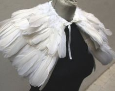 White feathers SHAWL Shrug Shoulders Feathers by feathesforsale