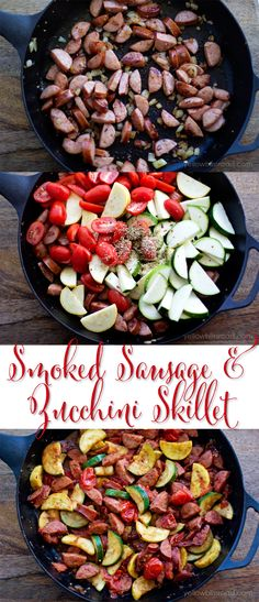 Amazing Smoked Sausage and Zucchini Skillet - This was so good! This Smoked Sausage and Zucchini Skillet has loads of flavor and veggies for a quick 20 meal! Serve over rice or pasta for a dinner to satisfy everyone! Pork Recipes, Paleo Recipes, Cooking Recipes, Smoked Sausage Recipes, Leftover Sausage Recipes, Johnsonville Sausage Recipes, Polish Sausage Recipes, Sausage Meals, Chicken Sausage Recipes