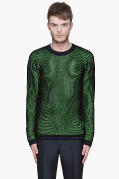 KENZO Black and green ribbed knit sweater