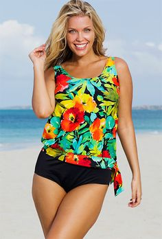 17eb0af2b2 Beach Belle Botany Bay Plus Size Blouson Tankini Catherines Plus Size,  Swimsuits For All,