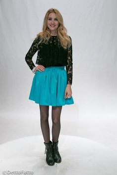 Light blue skirt and lace crop top. FV Fashion House - Detto FAtto