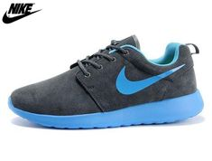low priced 1d79d a3705 2013 Mens Womens Nike Roshe One Low Anti Fur Waterproof Running Shoes Coal  Gray Lake Blue