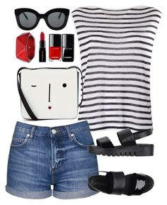 """""""Untitled #766"""" by alissar13 ❤ liked on Polyvore featuring T By Alexander Wang, Topshop, CÉLINE, Lulu Guinness, Smashbox, McQ by Alexander McQueen and Jeffrey Campbell"""