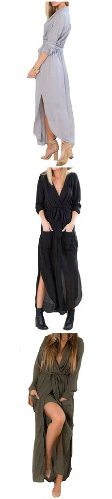 Love to wear long? Try this sexy slit maxi dress and infuse hotness in your style! Details: - Dresses - Slit - Long Dress - Party wear - Loose - V-neck - Fabric: Polyester Free Shipping! MINCHIC sugge