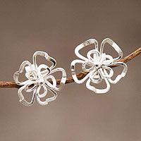 Sterling silver button earrings, 'Floral Sigh' by NOVICA