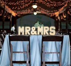MR & MRS Marquee Letter Lights with warm white LEDs and choice of power supply, 20cm (8inch) high
