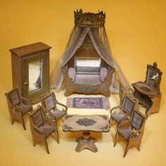Majestic  French Wooden Bedroom with gilt decoration - By the Badeuille firm