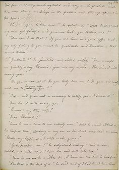 Charlotte Bronte's handwritten manuscript of Jane Eyre, open at Rochester's proposal.
