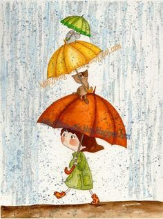 I love rain ! Art Fantaisiste, I Love Rain, Umbrella Art, Umbrella Cartoon, Walking In The Rain, Children's Book Illustration, Whimsical Art, Rainy Days, Cat Art