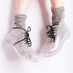 transparent Rubber Womens rain shoes Lace-Up Ankle boots clear galoshes - Clear Boots - Ideas of Clear Boots - transparent Rubber Womens rain shoes Lace-Up Ankle boots clear galoshes Price : Rain Shoes, Sock Shoes, Shoe Boots, Wellies Boots, Women's Shoes, Sneaker Women, Mode Kawaii, Lace Up Ankle Boots, Mode Inspiration