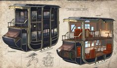 Feng Zhu Design: Studentenarbeit - Unterhaltungsdesign Source by kerrydennis Rpg Map, Caravan Renovation, Steampunk Design, Environment Concept Art, Le Far West, Fantasy Rpg, Old West, Dieselpunk, Student Work