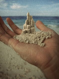 Tiny sandcastle in my hand filled with dreams and fantasy. Into your world I long to be. A world where I can truly be me. As the breeze slips you away, through my finger tips. Take me with you tiny sandcastle in my hand. Ivet H. P.