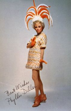 Things for Sheila: Phyllis Diller wears an orange and white hat -- a charming chapeau -- perfect for any occasion. She was the first crazy dresser before Madonna or Lady Gaga. Hollywood Stars, Classic Hollywood, Old Hollywood, Tv Actors, Actors & Actresses, Female Actresses, Famous Women, Famous People, Iconic Women