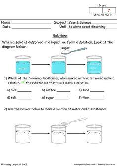 PrimaryLeap.co.uk - Solutions Worksheet Ks2 Science, Science Chart, 1st Grade Science, Science Worksheets, Science Resources, Science Lessons, Science Education, Science Activities, States Of Matter Worksheet