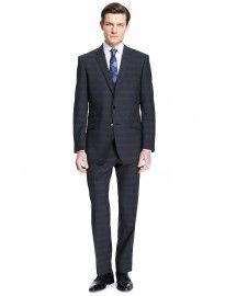 Pure New Wool 2 Button Checked Suit Including Waistcoat