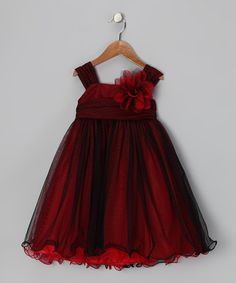 Take a look at this Red & Black Flower Dress - Toddler & Girls by Kid's Dream on #zulily today!