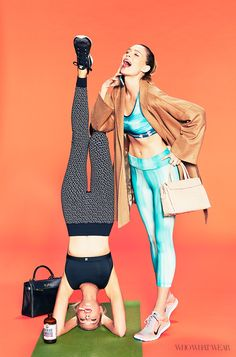 """Erin and Sara Foster of 'Barely Famous' pose exclusivey for #WhoWhatWear as """"Brentwood yoga moms"""" // Photo: Justin Coit"""