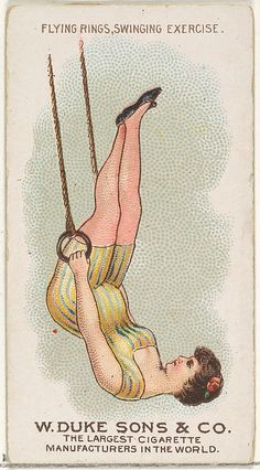 Flying Rings Swinging Exercise, from the Gymnastic Exercises series (N77) for Duke brand cigarettes 1887