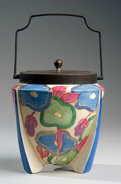 """Blue Chintz"" ceramic biscuit barrel by Clarice Cliff, England"