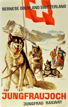 Jungfraujoch Bernese Oberland, 1946 - original vintage poster by Ed Weber listed on AntikBar.co.uk