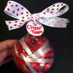 Cute ornament for holiday gift for your team. Use different color ribbons for your team color. Cheer Treats, Cheer Gifts, Team Gifts, Holiday Gifts, Holiday Decor, Team Bonding, Cheer Coaches, Dance Stuff, Diy Things