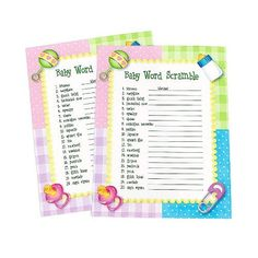 """Baby Shower Word Scramble Game (2 dz) by Fun Express. $3.95. 8 1/2"""" x 11"""". 2 Dozen sheets per order. This baby shower word scramble game is so much fun at baby showers. Includes 20 different words or phrases to unscramble with the first one done for you. 2 dozen illustrated Baby Word Scramble game sheets per order. 8 1/2"""" x 11"""""""