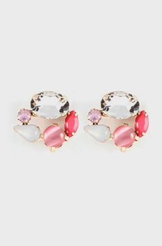 Crystal Amare Earrings in Blush Lucite