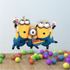 FULL COLOUR DESPICABLE ME 2 MINION WALL STICKER DISNEY BOYS BEDROOM DECAL MURAL