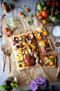 garden tart w/ roasted red pepper and feta spread