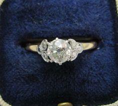 Edwardian Engagement Diamond Solitaire Ring 18ct Platinum 60ct 70ct | eBay