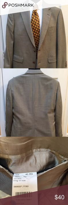 "Brooks Brothers plaid gingham blazer size 40R 346 Brooks Brothers Mens Size 40R 2 button front 4 button sleeves 100% wool Green Blue Beige Black Plaid Gingham  Gold lining Brown buttons Dry cleaned! Super nice material! Chest 21"" across Waist 20.5"" across Sleeves 24"" Shoulders 19"" Length 31"" Vent 10"" Excellent condition Brooks Brothers Suits & Blazers Sport Coats & Blazers"