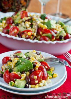 Avocado Corn and Tomato Salad with a Cilantro Lime Vinaigrette - A Family Feast