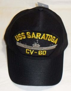 2f8350079a2 USS SARATOGA CV-60 US NAVY SHIP HAT OFFICIALLY LICENSED BASEBALL CAP Made  in USA