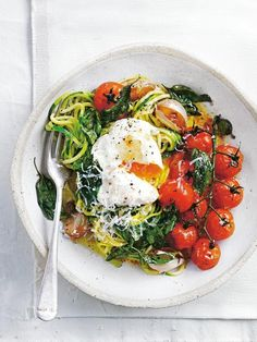 Turn your veggies into pasta for this healthy and hearty healthier dinner choice roast Zucchini squash pasta poached egg Zucchini Pasta, Zucchini Parmesan, Roast Zucchini, Squash Pasta, Zucchini Squash, Food For Thought, Pasta Recipes, Cooking Recipes, Clean Eating