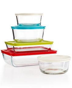 #Pyrex 10-Piece Simply Store Set with Colored Lids - From prep to presentation, Pyrex is your go-to. These non-porous & ultra-durable vessels with freshness-sealing lids move effortlessly from the fridge to the microwave to the table. Each container has a colored lid that makes it easy to spot, organize, & stack other containers on top.