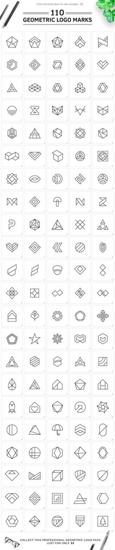 110 Geometric Logo Pack by XpertgraphicD on @creativemarket